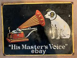 Large HMV Enamel Sign 1970s His Masters Voice Double Sided Shop Sign