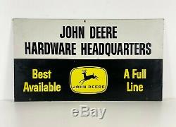 Large John Deere Hardware Headquaters 4-leg 21x38 Double Sided Sign, Rare, Pops