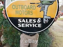 Large Old Used 1950's Mercury Outboard Motors Double Sided Porcelain Metal Sign