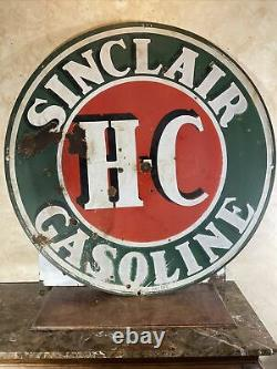 Large Original & Authentic''sinclair'' 48 Inch Double Sided Porcelain Sign