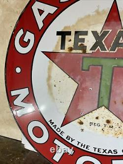 Large Original & Authentic''texaco'' 42 Inch Double Sided Porcelain Sign