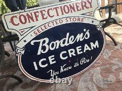 Large Original Bordens Ice Cream Double Sided Porcelain Sign