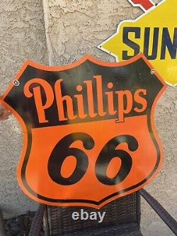 Large Phillip 66 30 porcelain Double Sided Vintage Sign Garage Office Shop