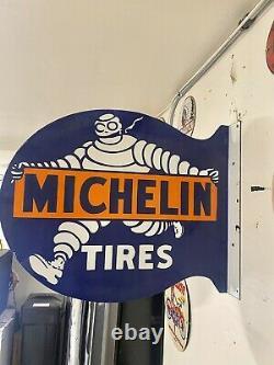 Large Porcelain Michelin Tires Enamel Sign 22x19 Double Sided Flange Shop