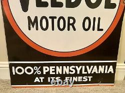 Large Vintage Buy Veedol Motor Oil Double-Sided Porcelain Tydol