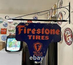 Large Vintage Porcelain Double Sided Firestone Tires Display Sign With Bracket