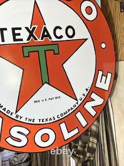 Large Vintage''texaco'' Gasoline Double Sided 30 Porcelain Sign With Bracket