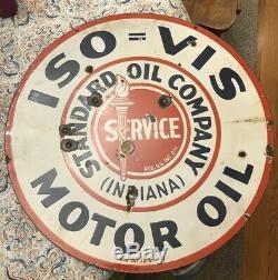 Large porcelain ISO VIS Standard Motor Oil Sign 30 double sided