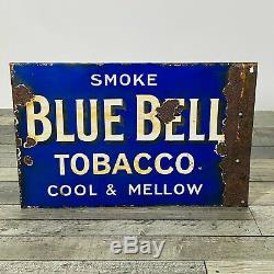 Large vintage enamel sign SMOKE BLUE BELL TOBACCO excellent feature double sided