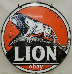 Lion Gas Oil Vintage Collectable Porcelain Double Sided Sign