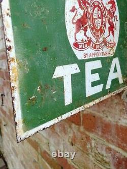 Liptons Tea double sided enamel sign old shop sign old porcelain Lipton's