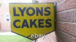 Lyons cakes Vintage original enamel sign double sided