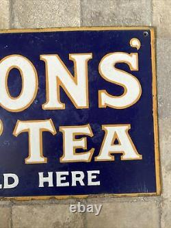 Lyons double sided tea enamel sign advertising Excellent Condition