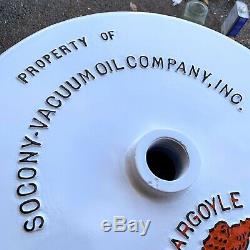 MOBILOIL GARGOYLE Porcelain Double Sided Curb Lollipop Sign BASE 23.5 inch