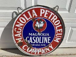 Magnolia Double Sided Porcelain Sign 1920s Original