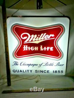 Miller beer sign 1957 High Life double sided hanging lighted clock bar light old