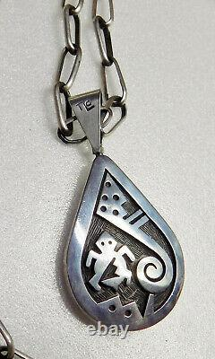 NATIVE AMERICAN STERLING DOUBLE SIDED PENDANT 36.8g SIGNED TRINIDAD LUCAS HOPI
