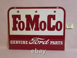 NEW-OLD STOCK -1957 FOMOCO GENUINE FORD PARTS -DOUBLE SIDED METAL SIGN with BOX