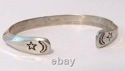 Navajo Hand Stamped Ingot Carinated Double Sided Cuff Bracelet Stacker Signed