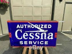 Neon Porcelain Cessna Authorized Service Sign Double Sided vintage original DSPN