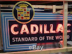 New Cadillac Double-Sided Painted Enamel Sign with Bullnose & Neon 72W x 48H