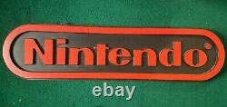 Nintendo Store Display Sign Double-Sided 48x12 Black & Red Vintage Retro