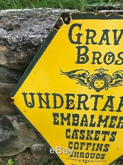 OLD GRAVES BROS. UNDERTAKERS LARGE DOUBLE SIDED PORCELAIN SIGN (28x 22) NICE