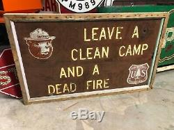 OLD Vintage SMOKEY THE BEAR Clean Camp Dead Fire WOOD SIGN Double Sided PATINA