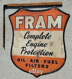 ORIGINAL 1930s-40s FRAM OIL AIR FUEL FILTERS DOUBLE SIDED GAS STATION SIGN