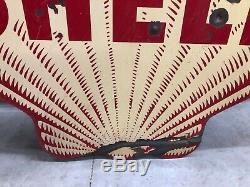 ORIGINAL Antique SHELL Gas Oil Tiger Stripe Double sided PORCELAIN Sign 48 RARE