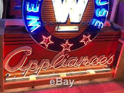 ORIGINAL Double Sided WESTINGHOUSE APPLIANCES Neon PORCELAIN Sign Old Vintage