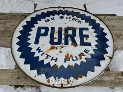 ORIGINAL RARE VTG 40s PURE OIL GAS STATION DOUBLE SIDED PORCELAIN SIGN RING 60