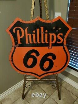 ORIGINAL Vintage PHILLIPS 66 Double Sided PORCELAIN Sign Gas Oil OLD