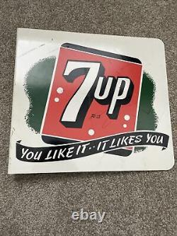 Old 7up Seven Up Soda Double Sided Adverting Flange Sign You Like It Likes You