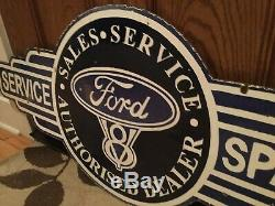 Old Ford Dealer Service Double Sided Porcelain Sign