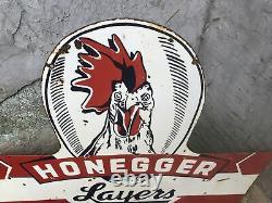 Old Honegger Egg Farm Double Sided Porcelain Sign