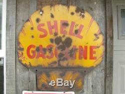 Old Original Vintage Shell Gas Station Double Sided Porcelain Sign Damaged 25