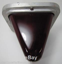 Old Ruby Red Thick Glass Lighted EXIT Sign Double Sided Bevel ceiling mount lamp
