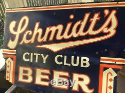 Old Schmidts Beer Double Sided Porcelain Sign