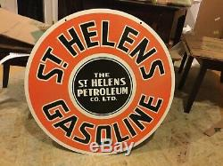 Old St. Helens Gasoline Double Sided Porcelain Sign 30