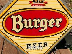 Old Vintage 1950's 60's Burger Beer Lighted Sign Large Double Sided Bar Tavern