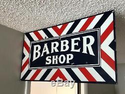 Old Vintage Double Sided Porcelain Barber Shop Flange Sign