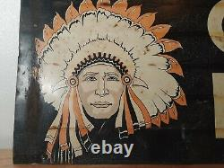Old Vintage Indian Picture Face Double Sided Chief Paints Advertising Tin Sign