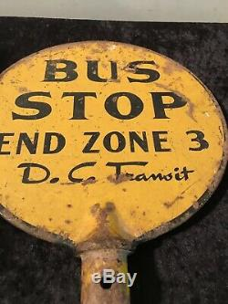 Old Washington DC Metal Bus Stop Pole Sign Cast Iron Double Sided