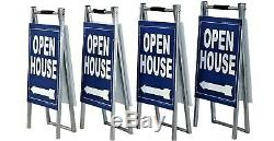 Open House Yard Sign Kit 4 Metal 12x28 A Frame 4 Double Sided Signs 12x18