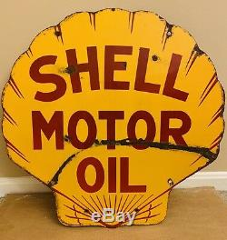 Orig Vintage Shell Motor Oil Double Sided Porcelain Sign Clamshell GAS 25 x 24