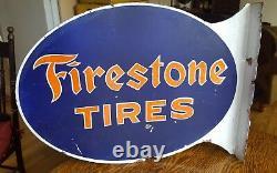 Original 1930's Firestone Flange Sign Tires Double Sided Porcelain Ges Pump