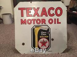 Original 1936 Texaco Golden Motor Oil Sign Double Sided Porcelain 30X30