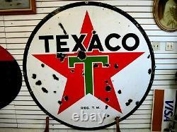 Original 1937 Texaco Double Sided Porcelain Advertising Sign 6 FT. Diameter