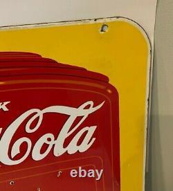 Original 1939 Porcelain double side COCA COLA Soda Fountain Dispenser Hand Sign
